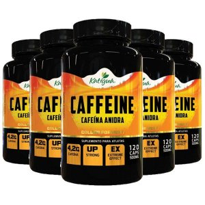 Caffeine (Cafeína Anidra) - 5 unidades de 120 Cápsulas - Katigua Sport