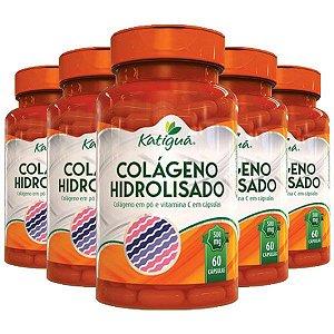 Colágeno Hidrolisado com Vitamina C - 5 unidades de 60 Cápsulas - Katigua