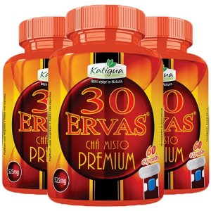 Chá 30 Ervas Premium - 3 unidades de 60 cápsulas - Katigua