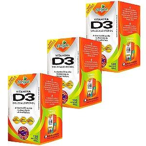 Vitamina D3 Colecalciferol - 3 unidades de 120 Cápsulas - Katigua