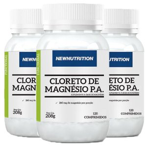 Cloreto de Magnésio P.A. - 3 unidades de 120 Comprimidos - NewNutrition