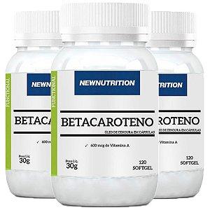 Betacaroteno com Vitamina A - 3 unidades de 120 Cápsulas - NewNutrition