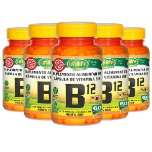 Vitamina B12 (cianocobalamina) - 5 unidades de 60 Cápsulas - Unilife