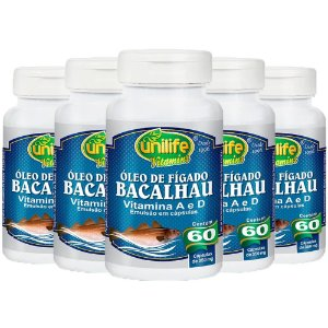 Óleo de Fígado de Bacalhau 350mg - 5 unidades de 60 cápsulas - Unilife