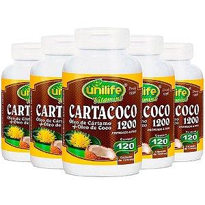 Óleo de Cártamo e Coco 1200mg - 5 unidades de 120 Cápsulas - Unilife