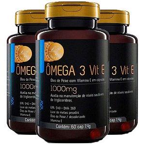 Ômega 3 com Vitamina E - 3 unidades de 60 Cápsulas - Upnutri Prime