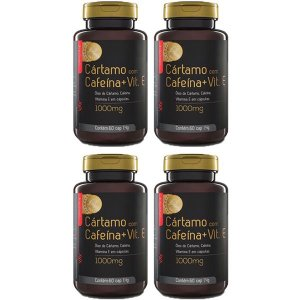 Cártamo com Cafeína e Vitamina E - 4 unidades de 60 Cápsulas - Upnutri Prime