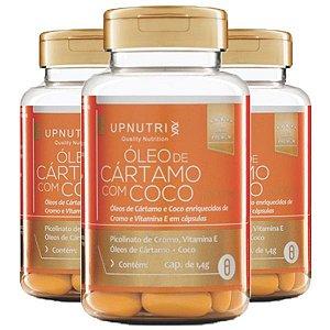 Óleo de Cártamo com Coco - 3 unidades de 120 Cápsulas - Upnutri Premium