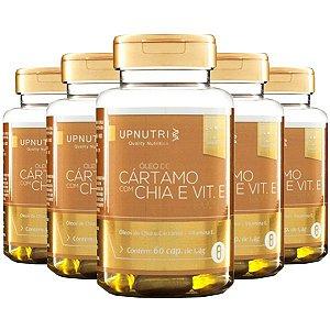 Óleo de Cártamo com Chia e Vitamina E - 5 unidades de 60 Cápsulas - Upnutri Premium