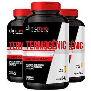 Termogênic Cafeína e Cártamo - 3 unidades de 60 Cápsulas - Clinic Mais