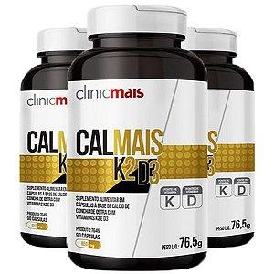 Calmais K2 e D3 - 3 unidades de 90 Cápsulas - Clinic Mais