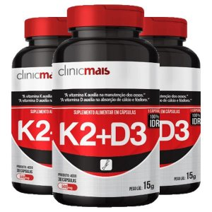 Vitaminas K2 + D3 - 3 unidades de 30 Cápsulas - Clinic Mais