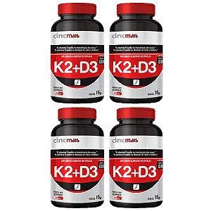 Vitaminas K2 + D3 - 4 unidades de 30 Cápsulas - Clinic Mais
