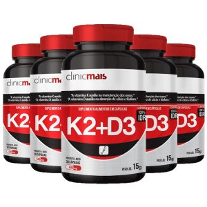 Vitaminas K2 + D3 - 5 unidades de 30 Cápsulas - Clinic Mais