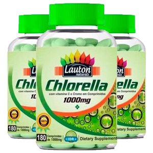 Clorela (Chlorella 1000mg) - 3 unidades de 180 Comprimidos - Lauton