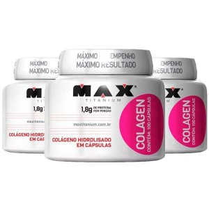 Colagen - 3 unidades de 100 Cápsulas - Max Titanium