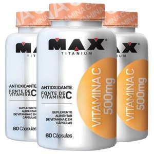 Vitamina C 500mg - 3 unidades de 60 Cápsulas - Max Titanium