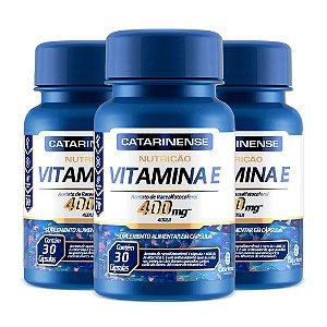 Vitamina E 400 UI - 3 unidades de 30 Cápsulas - Catarinense