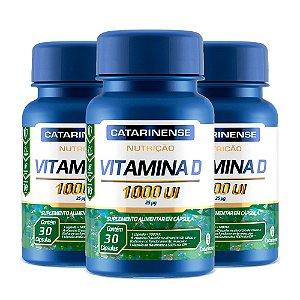 Vitamina D 1000 UI - 3 unidades de 30 Cápsulas - Catarinense