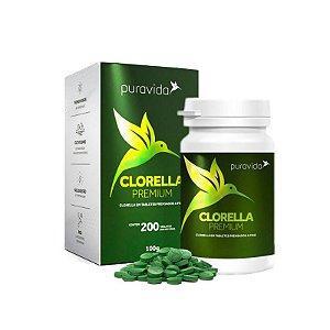 Clorella Premium - 200 Tabletes - Puravida