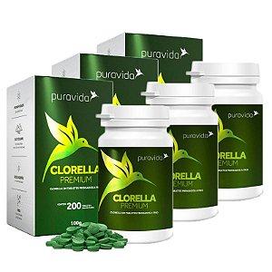 Clorella Premium - 3 unidades de 200 Tabletes - Puravida