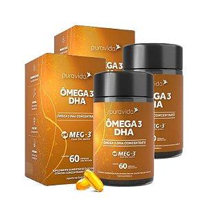 Ômega 3 DHA - 2 unidades de 60 Cápsulas - Puravida