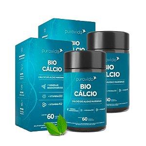 Bio Cálcio com Vitaminas D3 e K2 - 2 unidades de 60 Cápsulas - Puravida