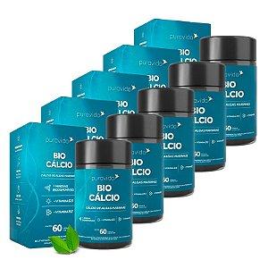 Bio Cálcio com Vitaminas D3 e K2 - 5 unidades de 60 Cápsulas - Puravida