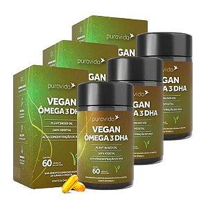Vegan Ômega 3 DHA - 3 unidades de 60 Cápsulas - Puravida