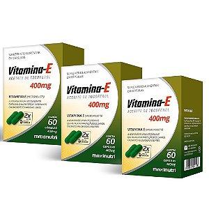 Vitamina E 400mg - 3 unidades de 60 Cápsulas - Maxinutri