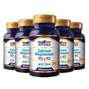 Cálcio Magnésio e Zinco - 5 unidades de 100 Comprimidos - VitGold