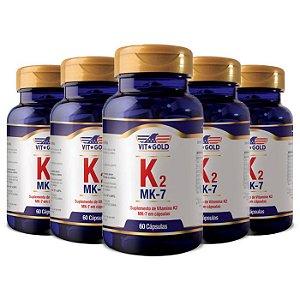 Vitamina K2 - 5 unidades de 60 Cápsulas - VitGold