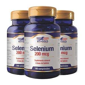 Selênio 200mcg - 3 unidades de 100 Comprimidos - VitGold