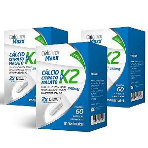 Calcium Maxx + Vitamina K2 - 3x 60 Cápsulas - Maxinutri