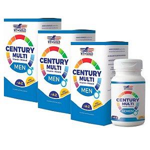 Multivitamínico Century Homem - 3 unidades de 60 Comprimidos - VitGold