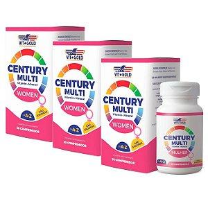 Multivitamínico Century Mulher - 3 unidades de 30 Comprimidos - VitGold