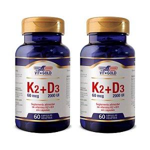 Vitaminas K2 + D3 - 2 unidades de 60 Cápsulas - VitGold