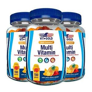 Multivitamínico Gummies - 3 unidades de 100 Gomas Sortidas - VitGold