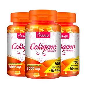 Colágeno com Vitamina C 1000mg - 3 unidades de 100 Comprimidos - Tiaraju