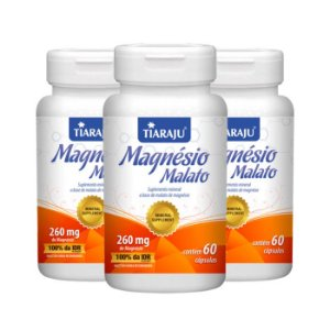 Magnésio Malato - 3 unidades de 60 Cápsulas - Tiaraju