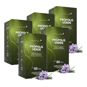 Própolis Verde - 5 unidades de 60 Cápsulas - Puravida