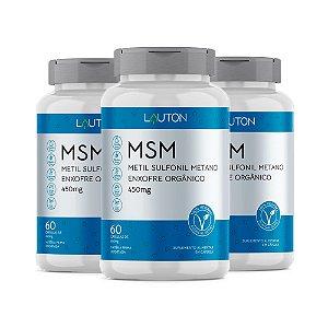 MSM Enxofre Orgânico - 3 unidades de 60 Cápsulas - Lauton