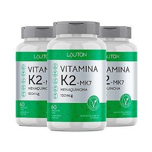 Vitamina K2 Menaquinona MK-7 - 3 unidades de 60 Cápsulas - Lauton