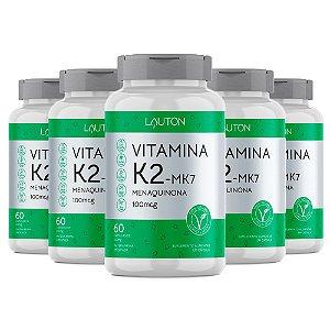 Vitamina K2 Menaquinona MK-7 - 5 unidades de 60 Cápsulas - Lauton