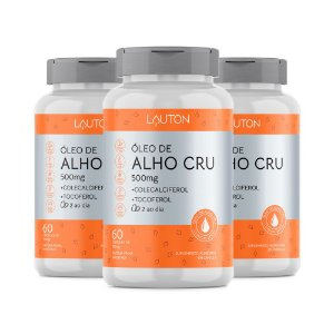 Óleo de Alho Cru com Vitaminas - 3 unidades de 60 Cápsulas - Lauton