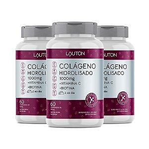 Colágeno com Vitamina C e Biotina - 3 unidades de 60 Comprimidos - Lauton