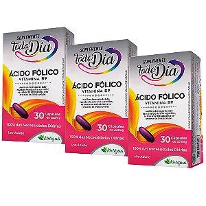 Vitamina B9 Ácido Fólico - 3 unidades de 30 Cápsulas - Katiguá