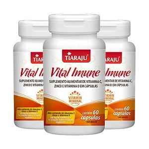 Vital Imune Vitaminas C, D e Zinco - 3 unidades de 60 Cápsulas - Tiaraju