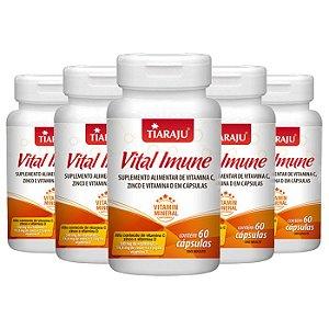 Vital Imune Vitaminas C, D e Zinco - 5 unidades de 60 Cápsulas - Tiaraju