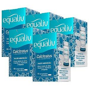 Calcitratus Cálcio e Magnésio com Vitaminas K2 + D3 - 5 unidades de 60 Comprimidos - Equaliv